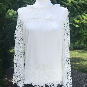 Tops - White Longsleeve crocheted blouse